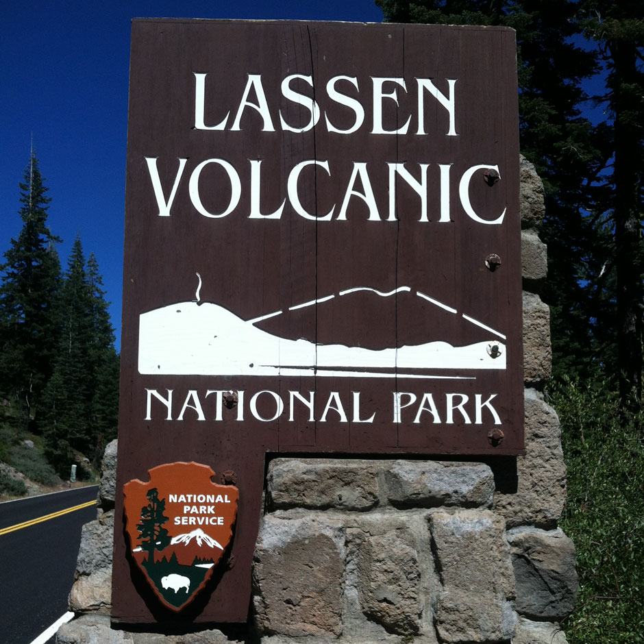 The sign at the South Entrance to Lassen Volcanic National Park