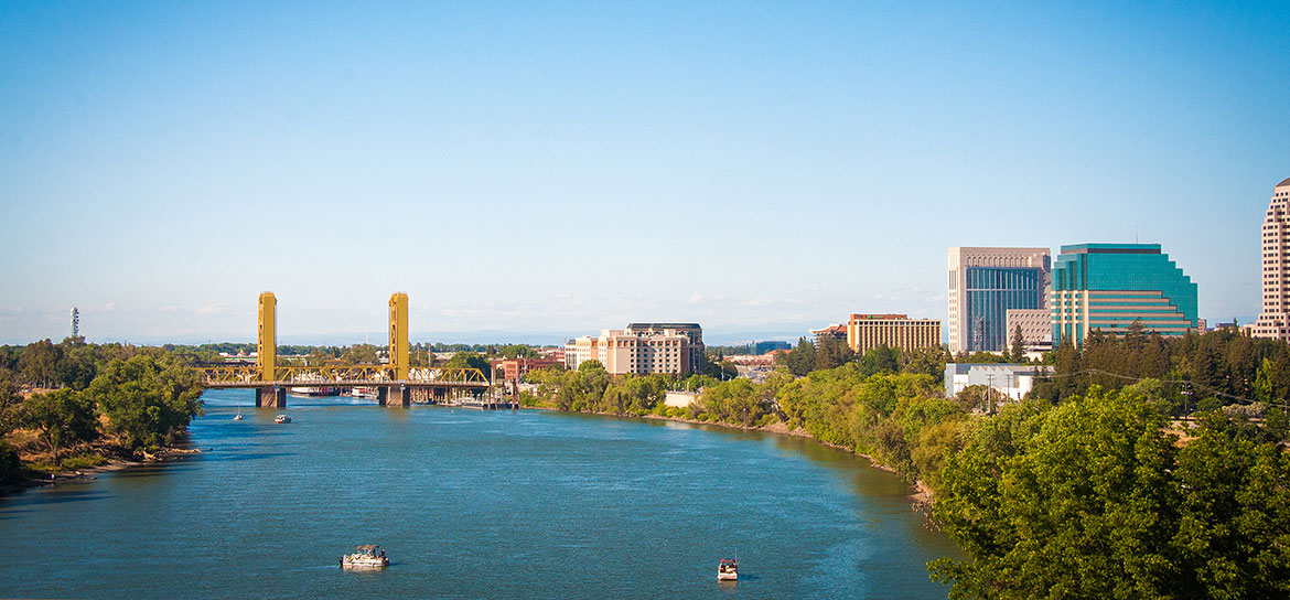 The Sacramento River in downtown Sacramento, California