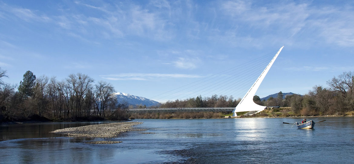 Some of the best trout fishing in California happens within sight of the famous Sundial Bridge in Redding.